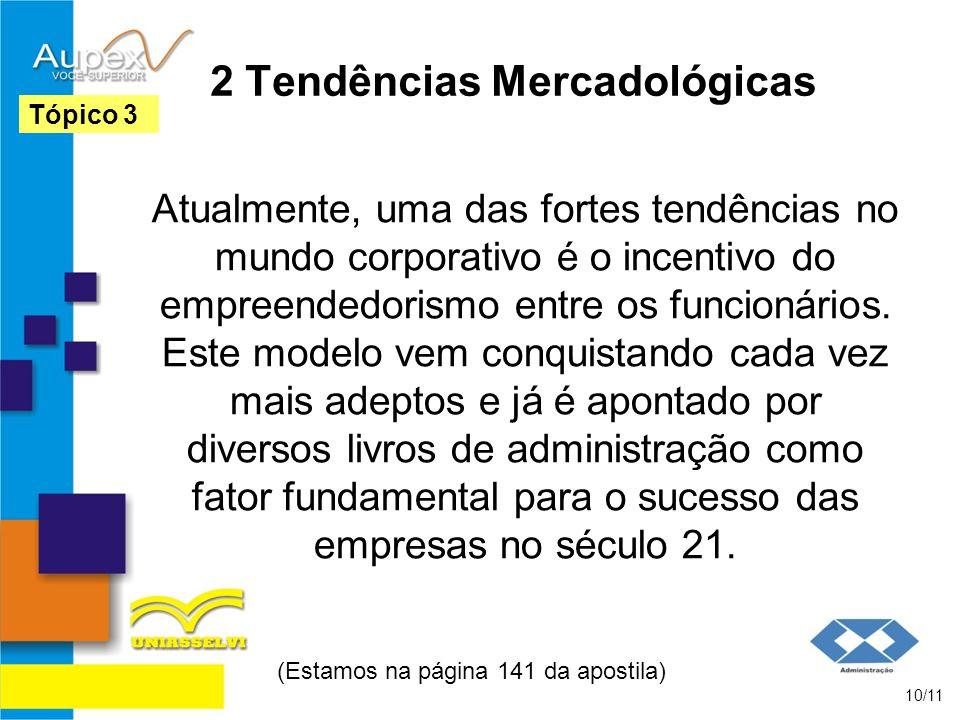 2 Tendências Mercadológicas Atualmente, uma das fortes tendências no mundo corporativo é o incentivo do empreendedorismo entre os funcionários.