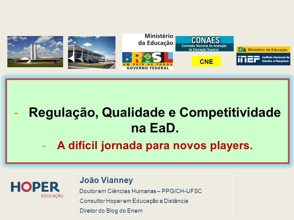-Regulação, Qualidade e Competitividade na EaD. -A difícil jornada para novos players. João Vianney Doutor em Ciências Humanas – PPGICH-UFSC Consultor