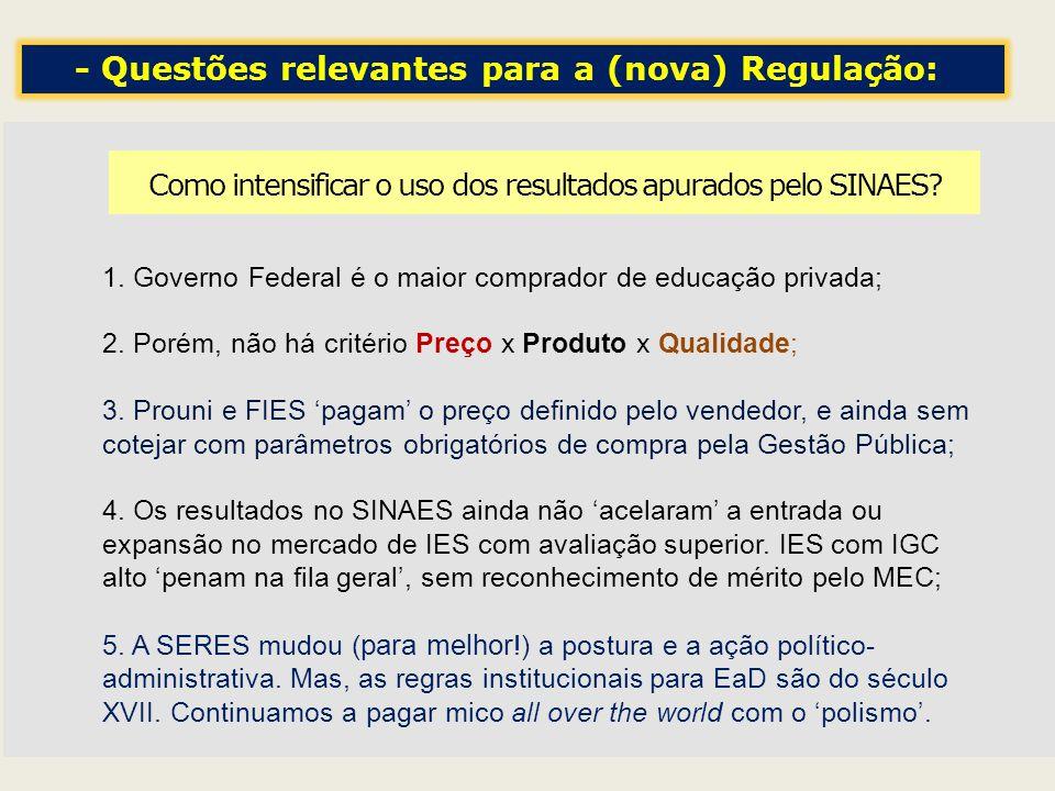 Como intensificar o uso dos resultados apurados pelo SINAES? 1. Governo Federal é o maior comprador de educação privada; 2. Porém, não há critério Pre