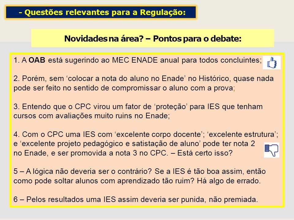 Novidades na área? – Pontos para o debate: 1. A OAB está sugerindo ao MEC ENADE anual para todos concluintes; 2. Porém, sem colocar a nota do aluno no