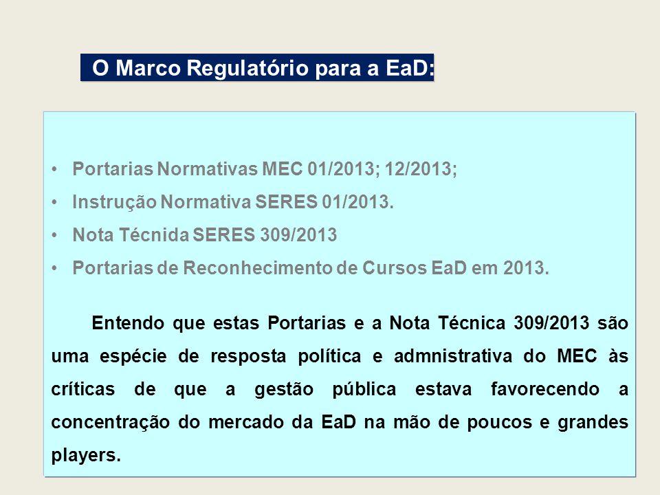 Portarias Normativas MEC 01/2013; 12/2013; Instrução Normativa SERES 01/2013. Nota Técnida SERES 309/2013 Portarias de Reconhecimento de Cursos EaD em
