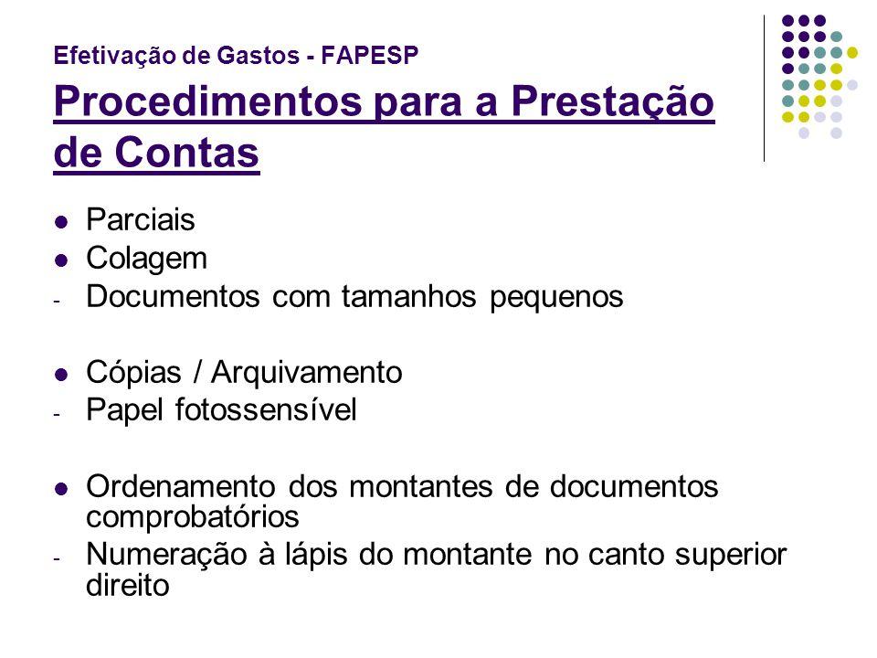 Efetivação de Gastos - FAPESP Procedimentos para a Prestação de Contas Parciais Colagem - Documentos com tamanhos pequenos Cópias / Arquivamento - Pap
