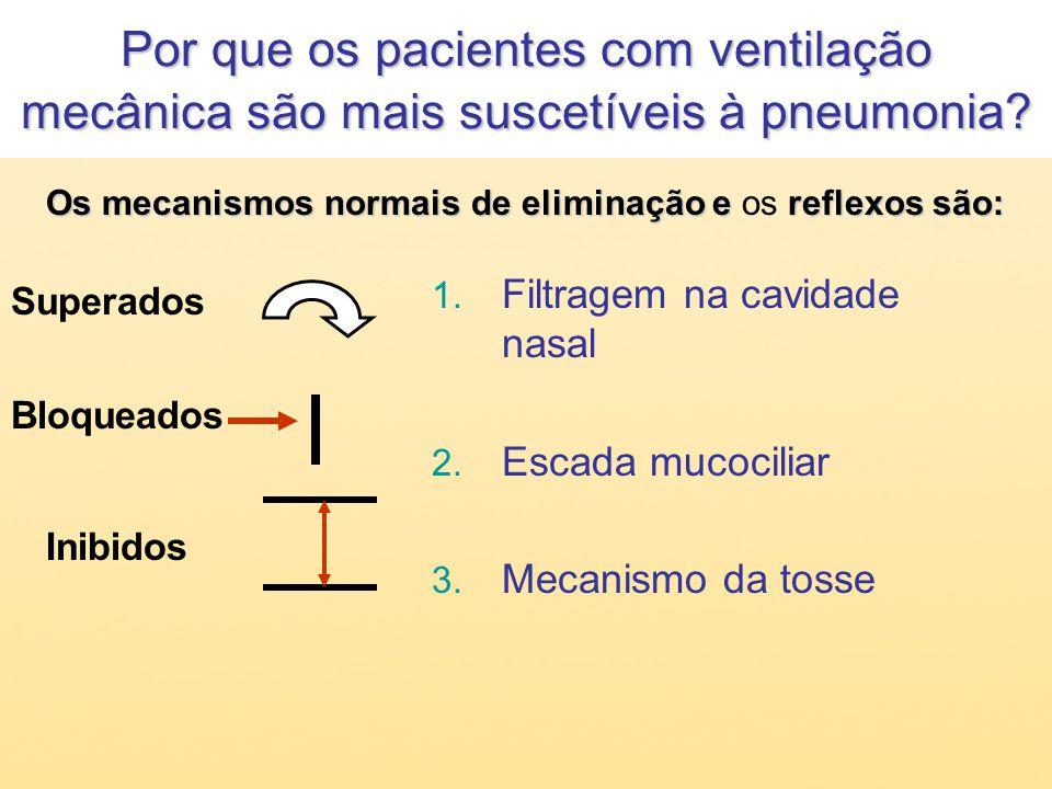 1. Filtragem na cavidade nasal 2. Escada mucociliar 3. Mecanismo da tosse Superados Bloqueados Inibidos Os mecanismos normais de eliminação ereflexos