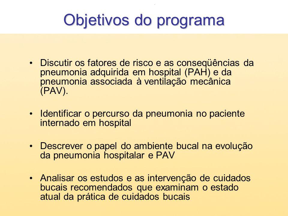 Objetivos do programa Discutir os fatores de risco e as conseqüências da pneumonia adquirida em hospital (PAH) e da pneumonia associada à ventilação m