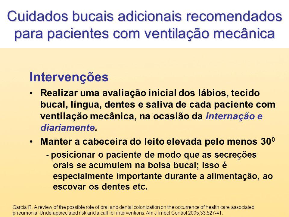 Cuidados bucais adicionais recomendados para pacientes com ventilação mecânica Intervenções Realizar uma avaliação inicial dos lábios, tecido bucal, l