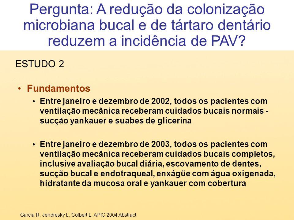 Fundamentos Entre janeiro e dezembro de 2002, todos os pacientes com ventilação mecânica receberam cuidados bucais normais - sucção yankauer e suabes