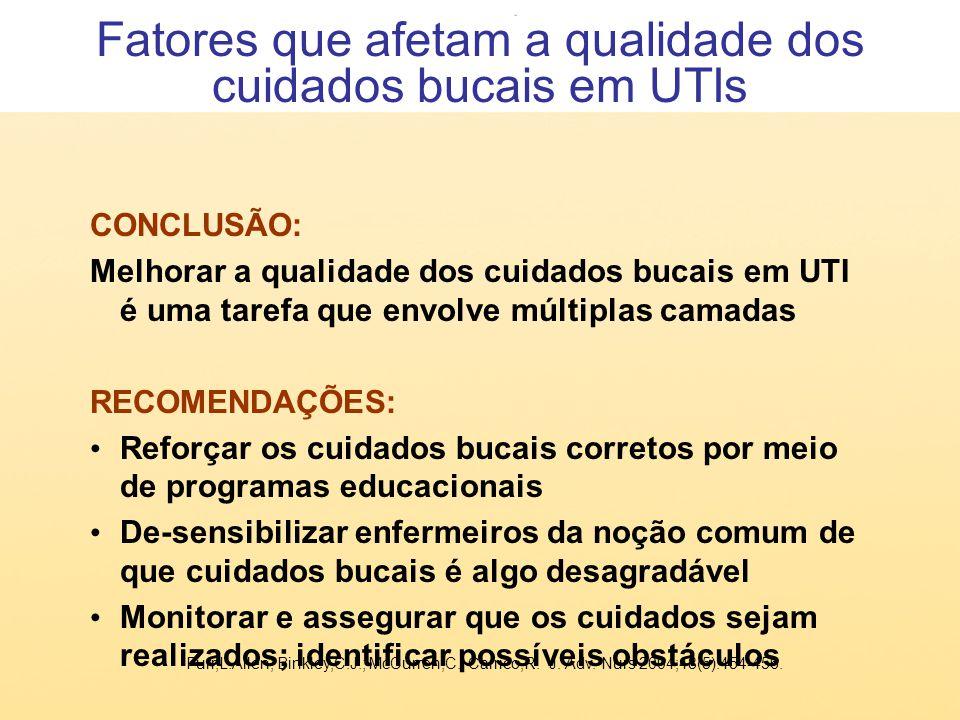 CONCLUSÃO: Melhorar a qualidade dos cuidados bucais em UTI é uma tarefa que envolve múltiplas camadas RECOMENDAÇÕES: Reforçar os cuidados bucais corre