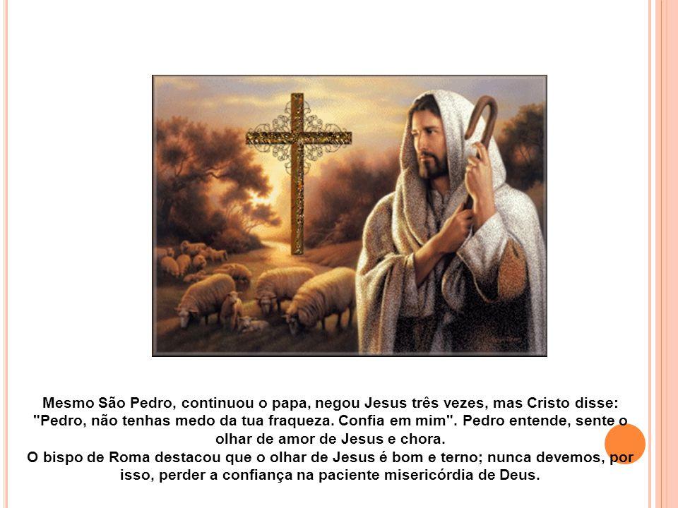 Mesmo São Pedro, continuou o papa, negou Jesus três vezes, mas Cristo disse: Pedro, não tenhas medo da tua fraqueza.