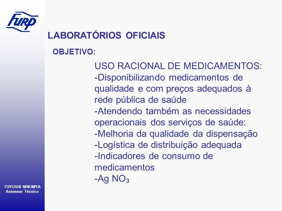 LABORATÓRIOS OFICIAIS TUYOSHI NINOMYA Assessor Técnico OBJETIVO: USO RACIONAL DE MEDICAMENTOS: -Disponibilizando medicamentos de qualidade e com preço