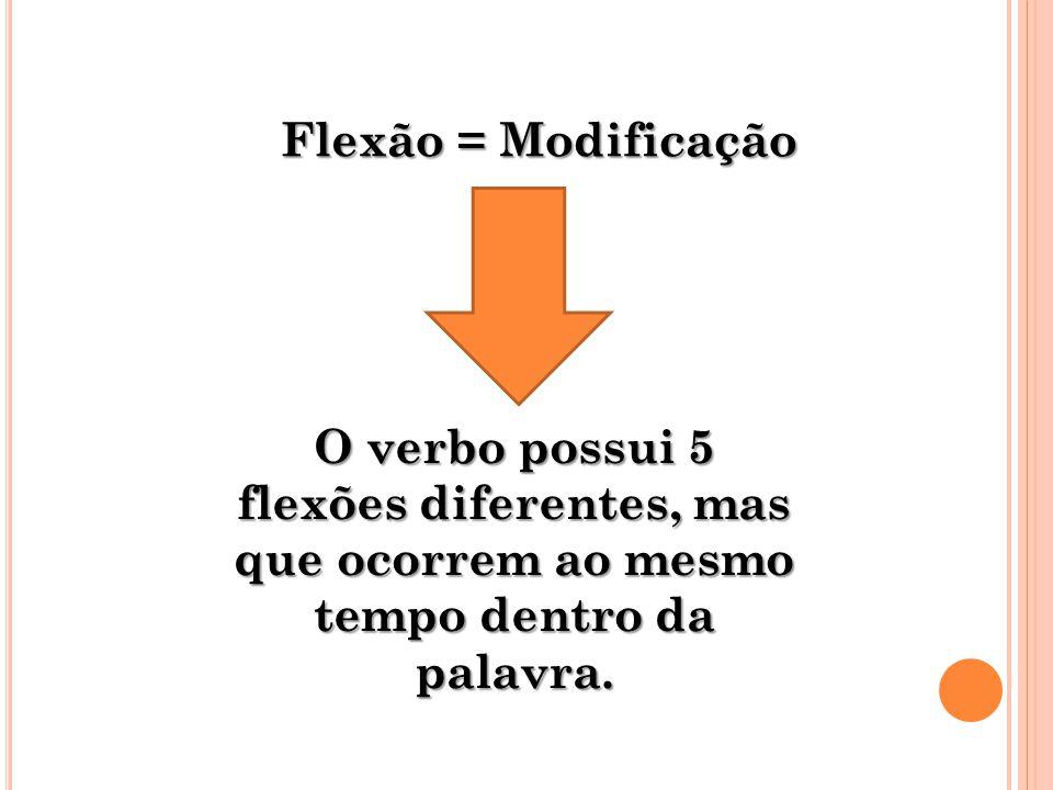 Flexão = Modificação O verbo possui 5 flexões diferentes, mas que ocorrem ao mesmo tempo dentro da palavra.