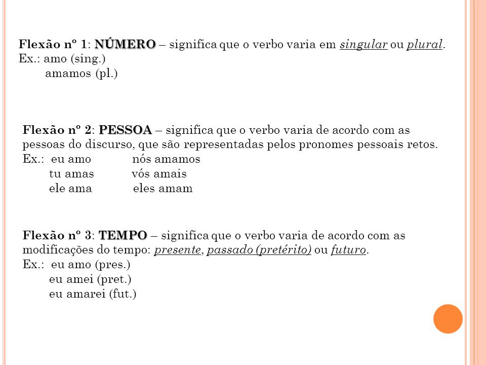 NÚMERO Flexão nº 1 : NÚMERO – significa que o verbo varia em singular ou plural.