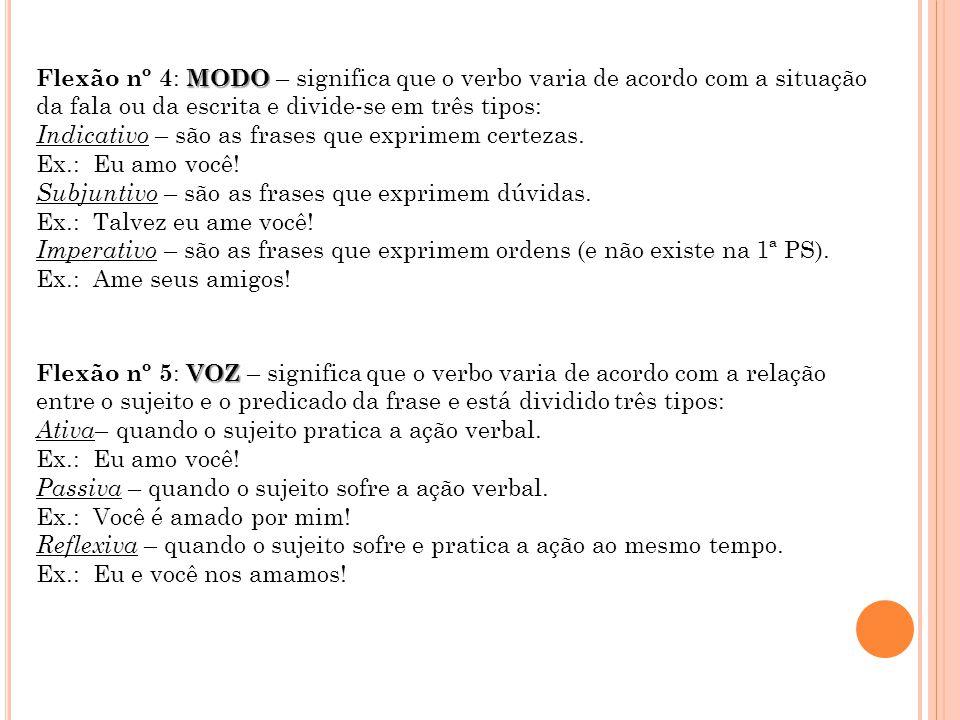 MODO Flexão nº 4 : MODO – significa que o verbo varia de acordo com a situação da fala ou da escrita e divide-se em três tipos: Indicativo – são as frases que exprimem certezas.