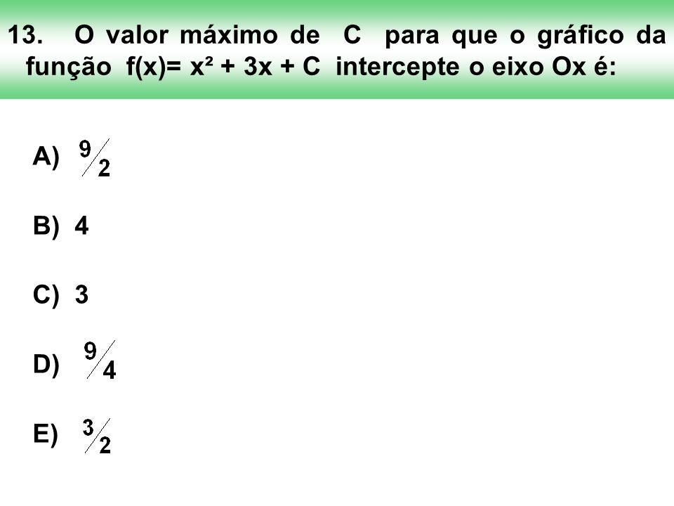 13.O valor máximo de C para que o gráfico da função f(x)= x² + 3x + C intercepte o eixo Ox é: A) B) 4 C) 3 D) E)
