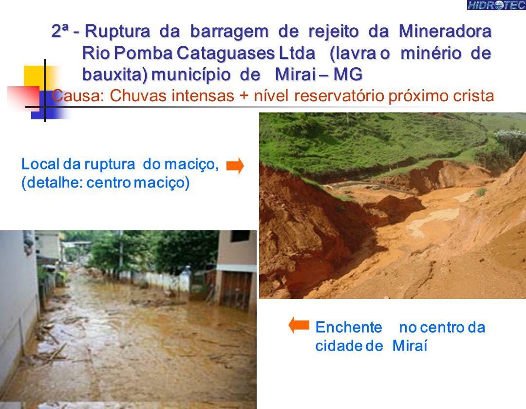 2ª - Ruptura da barragem de rejeito da Mineradora Rio Pomba Cataguases Ltda (lavra o minério de bauxita) município de Mirai – MG 2ª - Ruptura da barra