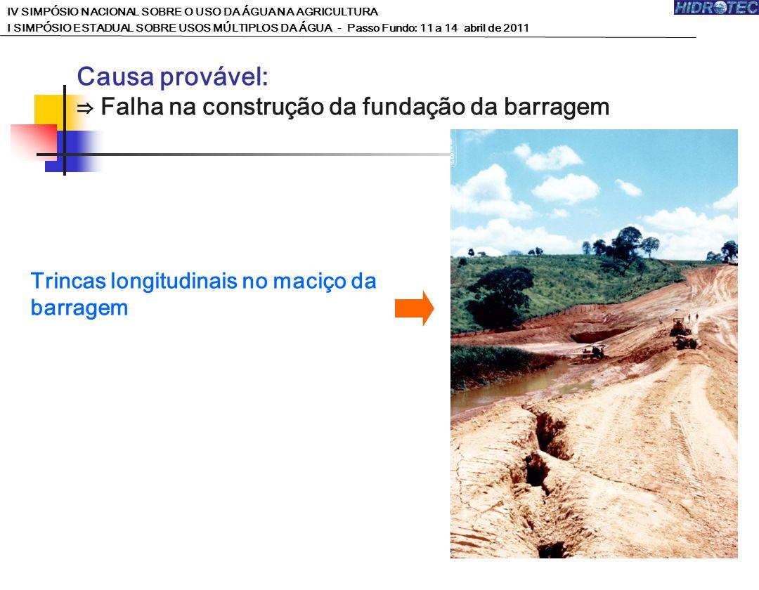 Trincas longitudinais no maciço da barragem Causa provável: Falha na construção da fundação da barragem IV SIMPÓSIO NACIONAL SOBRE O USO DA ÁGUA NA AG