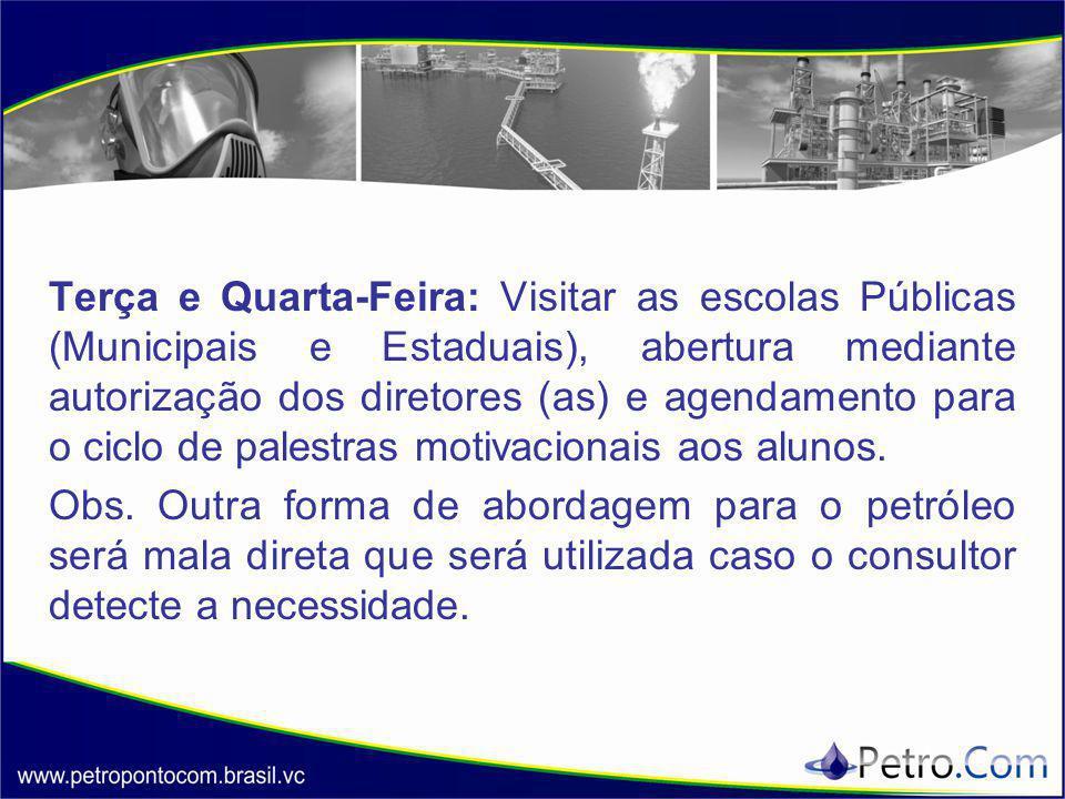 Terça e Quarta-Feira: Visitar as escolas Públicas (Municipais e Estaduais), abertura mediante autorização dos diretores (as) e agendamento para o cicl