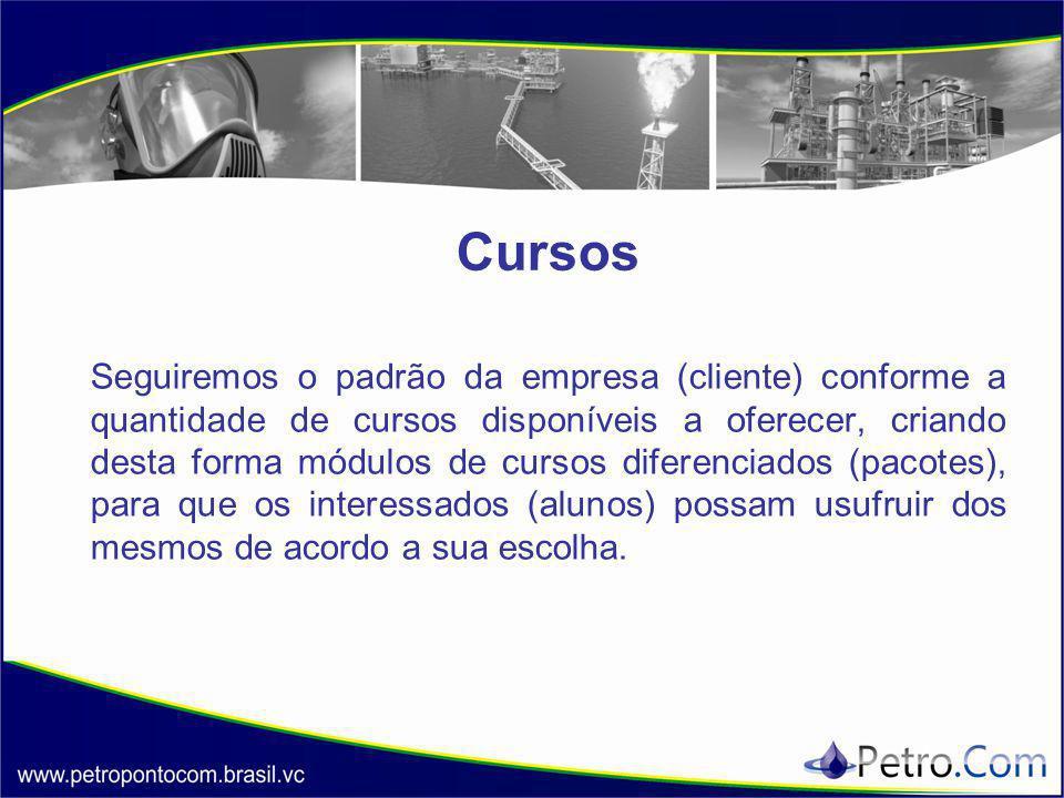 Cursos Seguiremos o padrão da empresa (cliente) conforme a quantidade de cursos disponíveis a oferecer, criando desta forma módulos de cursos diferenc