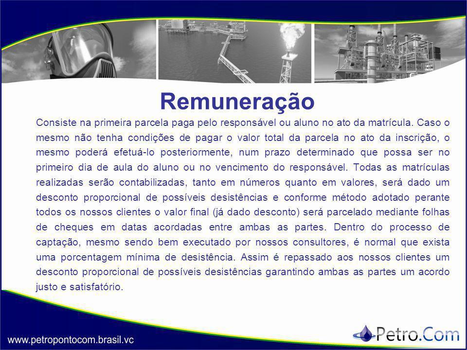 Remuneração Consiste na primeira parcela paga pelo responsável ou aluno no ato da matrícula.
