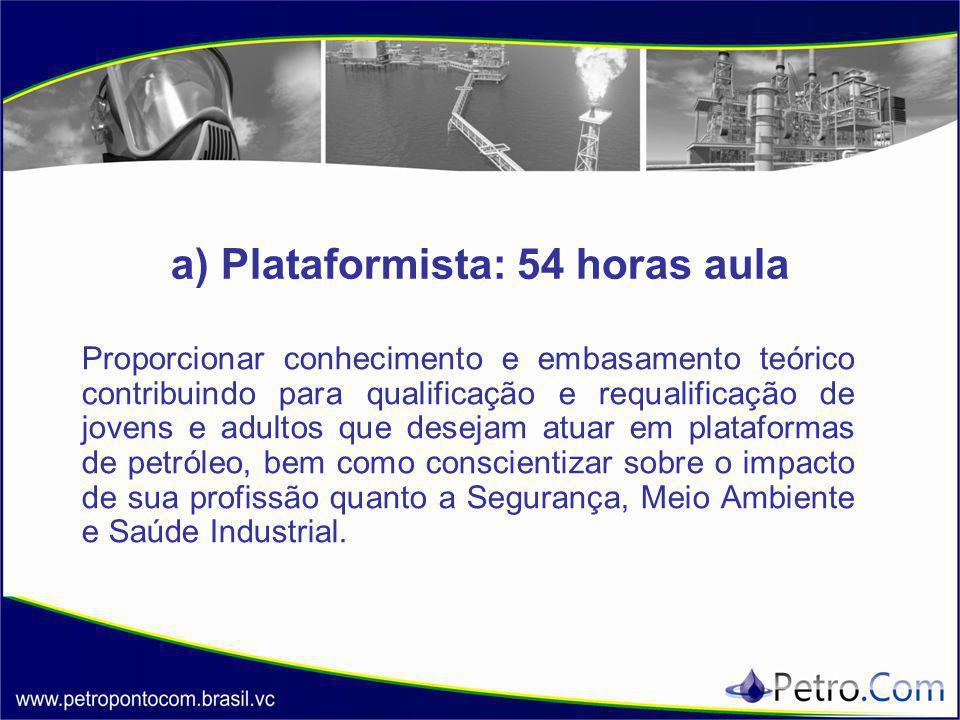 a) Plataformista: 54 horas aula Proporcionar conhecimento e embasamento teórico contribuindo para qualificação e requalificação de jovens e adultos que desejam atuar em plataformas de petróleo, bem como conscientizar sobre o impacto de sua profissão quanto a Segurança, Meio Ambiente e Saúde Industrial.