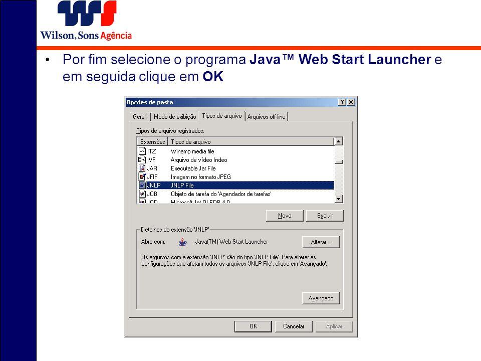 Por fim selecione o programa Java Web Start Launcher e em seguida clique em OK