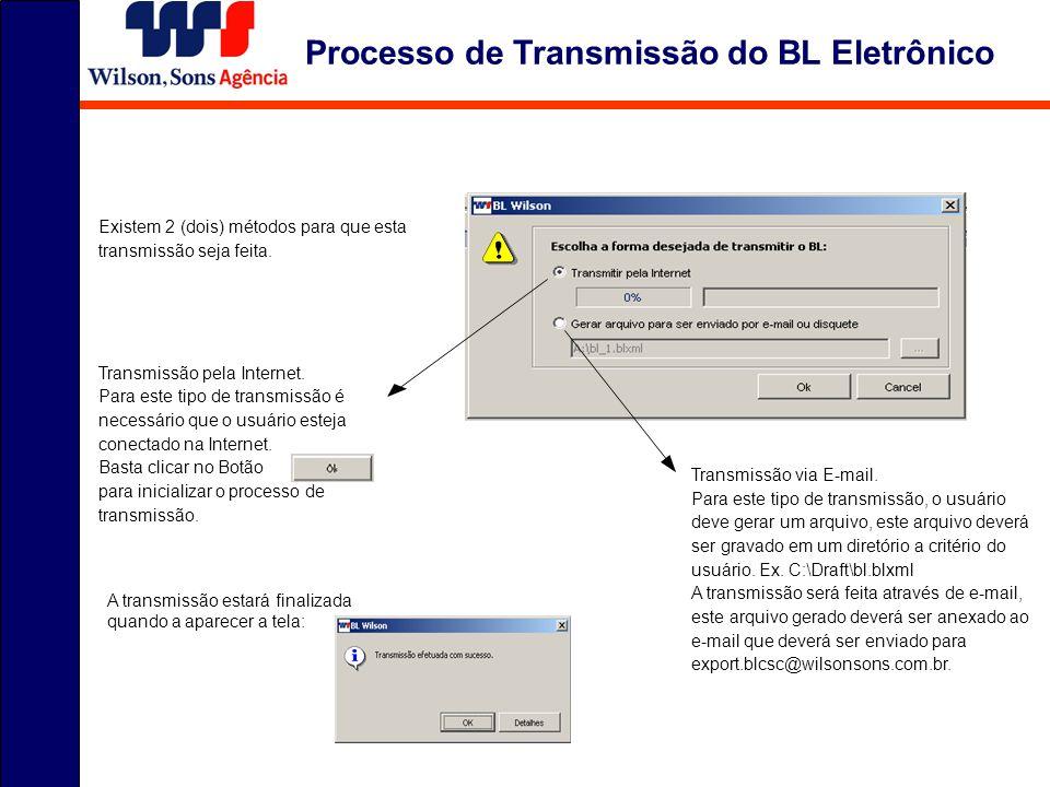 Existem 2 (dois) métodos para que esta transmissão seja feita. Transmissão pela Internet. Para este tipo de transmissão é necessário que o usuário est