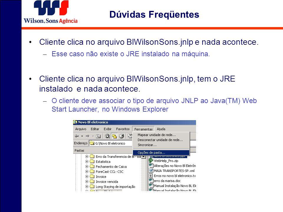 Dúvidas Freqüentes Cliente clica no arquivo BlWilsonSons.jnlp e nada acontece. – Esse caso não existe o JRE instalado na máquina. Cliente clica no arq