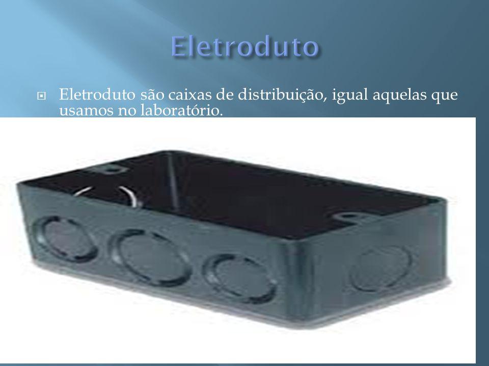 Eletroduto são caixas de distribuição, igual aquelas que usamos no laboratório.