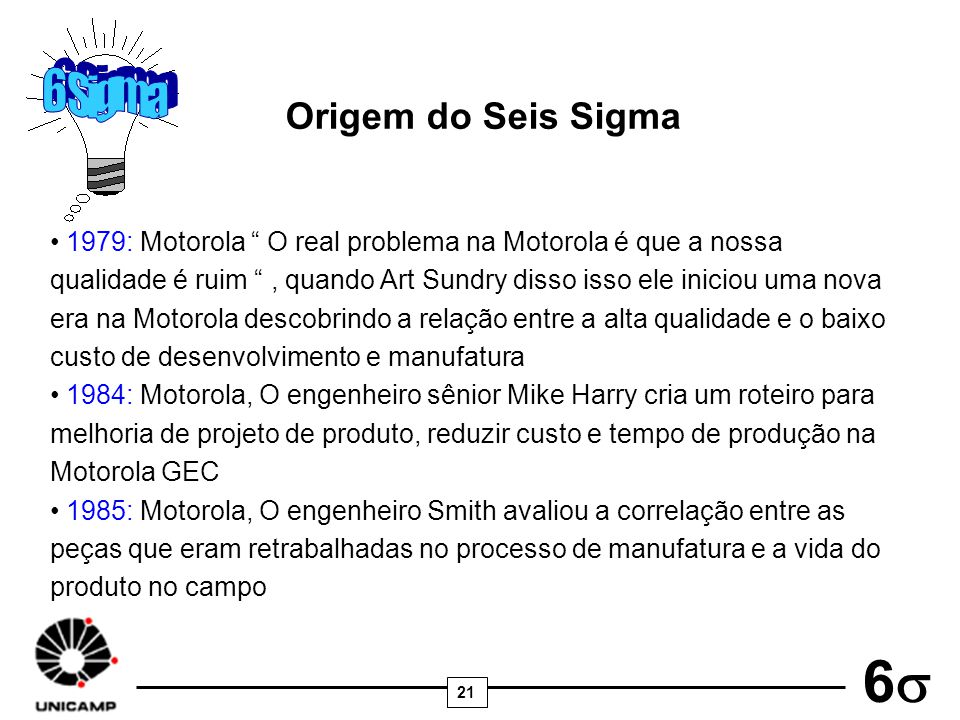 21 6 Origem do Seis Sigma 1979: Motorola O real problema na Motorola é que a nossa qualidade é ruim, quando Art Sundry disso isso ele iniciou uma nova