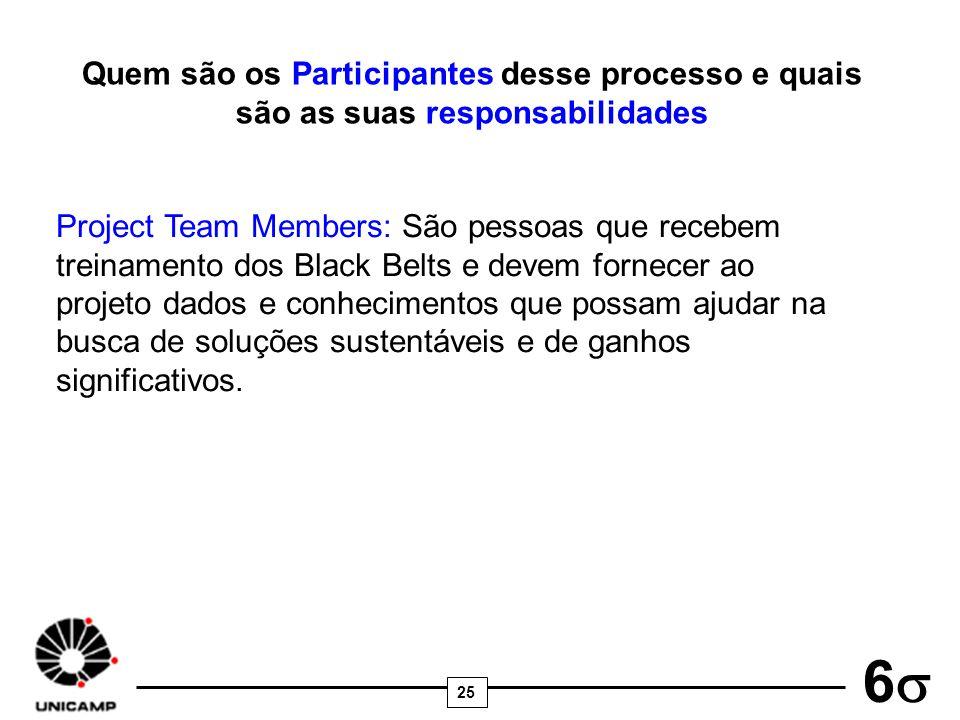 25 6 Quem são os Participantes desse processo e quais são as suas responsabilidades Project Team Members: São pessoas que recebem treinamento dos Blac