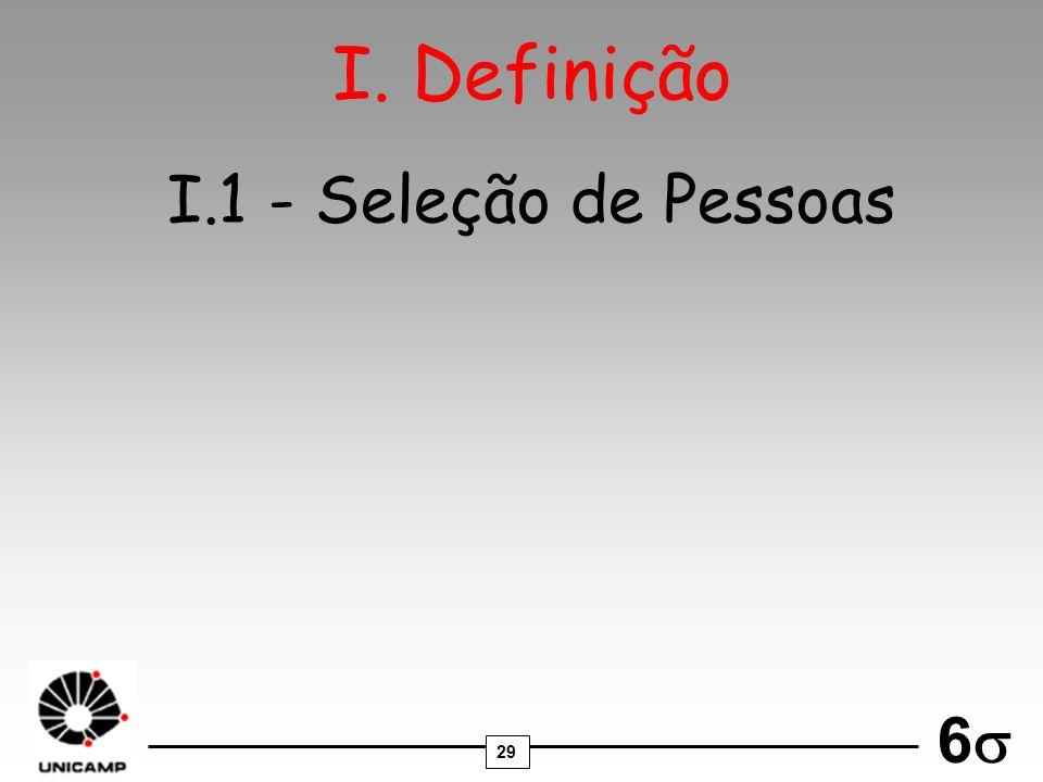 29 6 I.1 - Seleção de Pessoas I. Definição