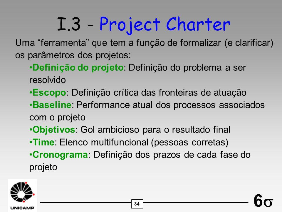 34 6 I.3 - Project Charter Uma ferramenta que tem a função de formalizar (e clarificar) os parâmetros dos projetos: Definição do projeto: Definição do
