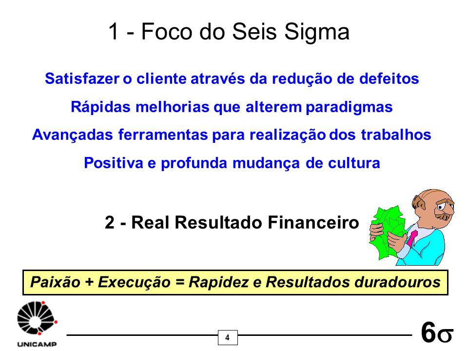 4 6 1 - Foco do Seis Sigma Satisfazer o cliente através da redução de defeitos Rápidas melhorias que alterem paradigmas Avançadas ferramentas para rea