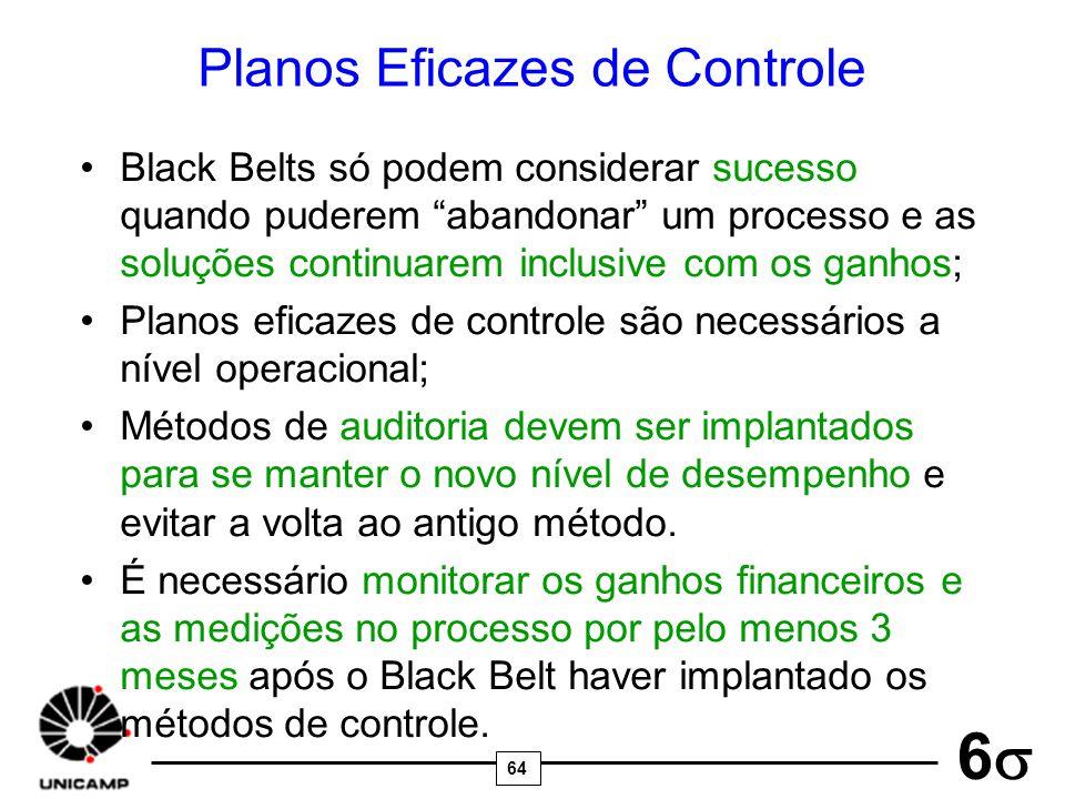 64 6 Planos Eficazes de Controle Black Belts só podem considerar sucesso quando puderem abandonar um processo e as soluções continuarem inclusive com