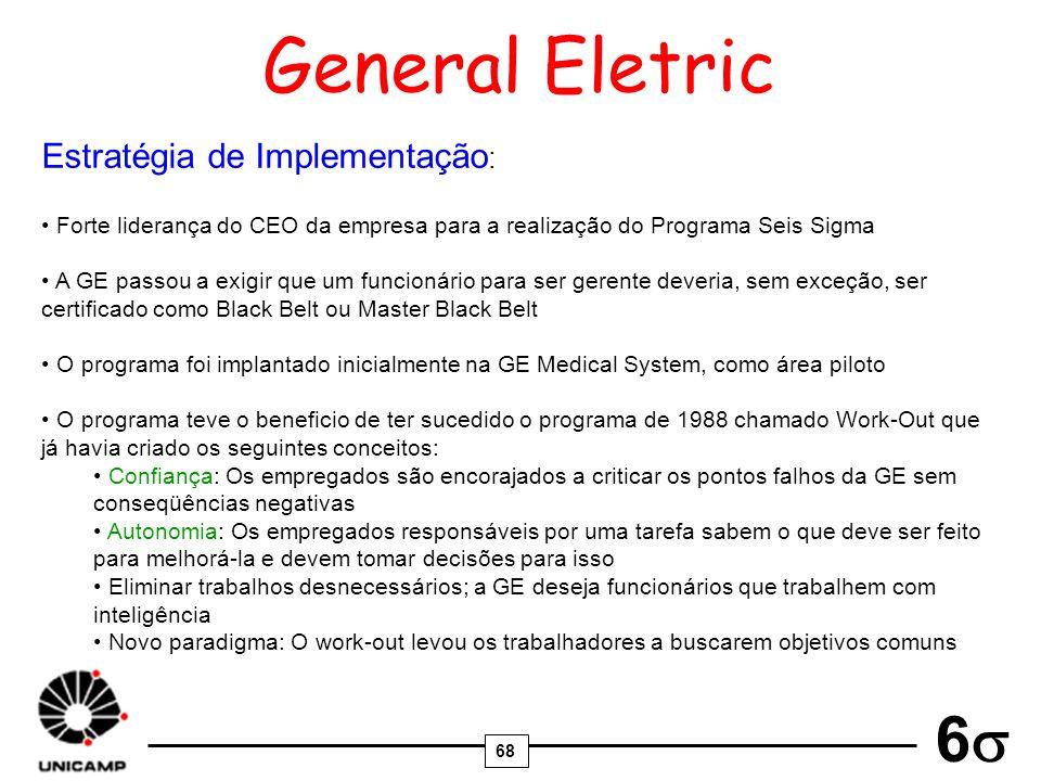 68 6 General Eletric Estratégia de Implementação : Forte liderança do CEO da empresa para a realização do Programa Seis Sigma A GE passou a exigir que