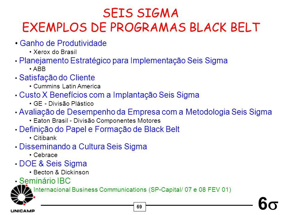69 6 SEIS SIGMA EXEMPLOS DE PROGRAMAS BLACK BELT Ganho de Produtividade Xerox do Brasil Planejamento Estratégico para Implementação Seis Sigma ABB Sat