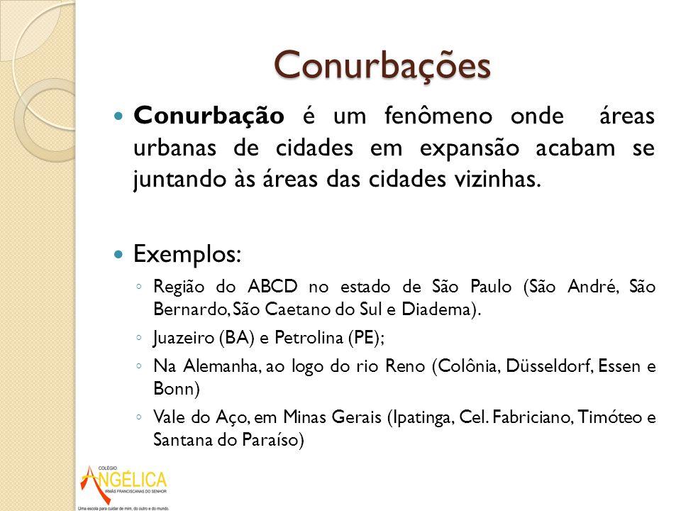 Conurbações Conurbação é um fenômeno onde áreas urbanas de cidades em expansão acabam se juntando às áreas das cidades vizinhas. Exemplos: Região do A