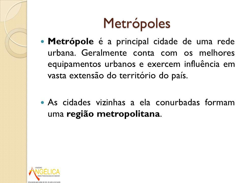Metrópoles Metrópole é a principal cidade de uma rede urbana. Geralmente conta com os melhores equipamentos urbanos e exercem influência em vasta exte