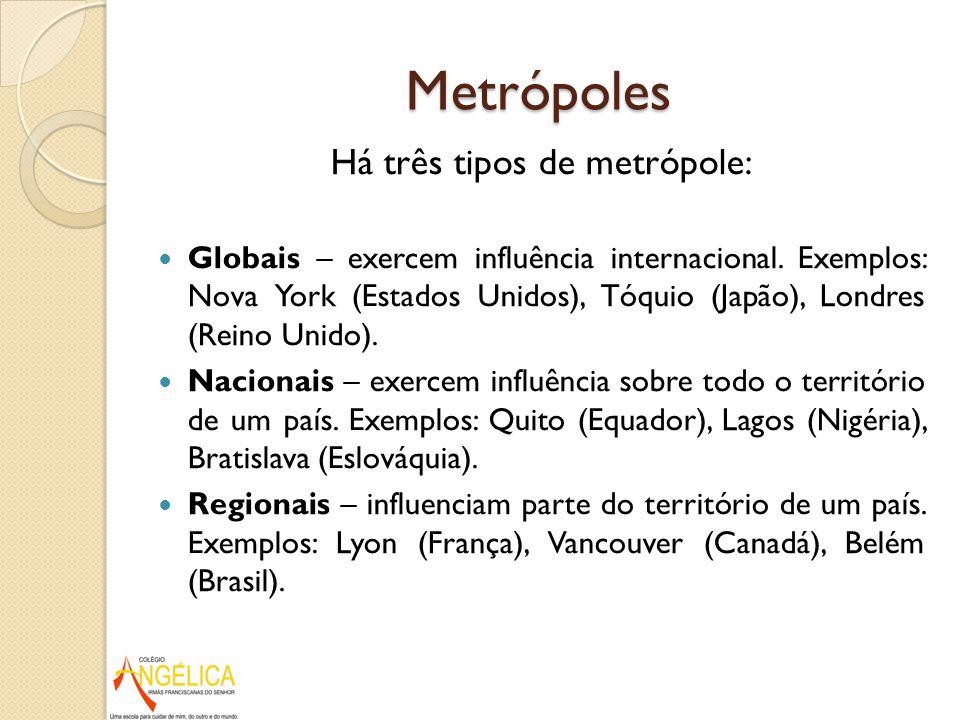 Metrópoles Há três tipos de metrópole: Globais – exercem influência internacional. Exemplos: Nova York (Estados Unidos), Tóquio (Japão), Londres (Rein