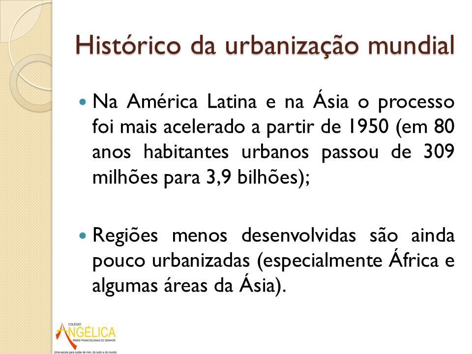 Histórico da urbanização mundial Na América Latina e na Ásia o processo foi mais acelerado a partir de 1950 (em 80 anos habitantes urbanos passou de 3