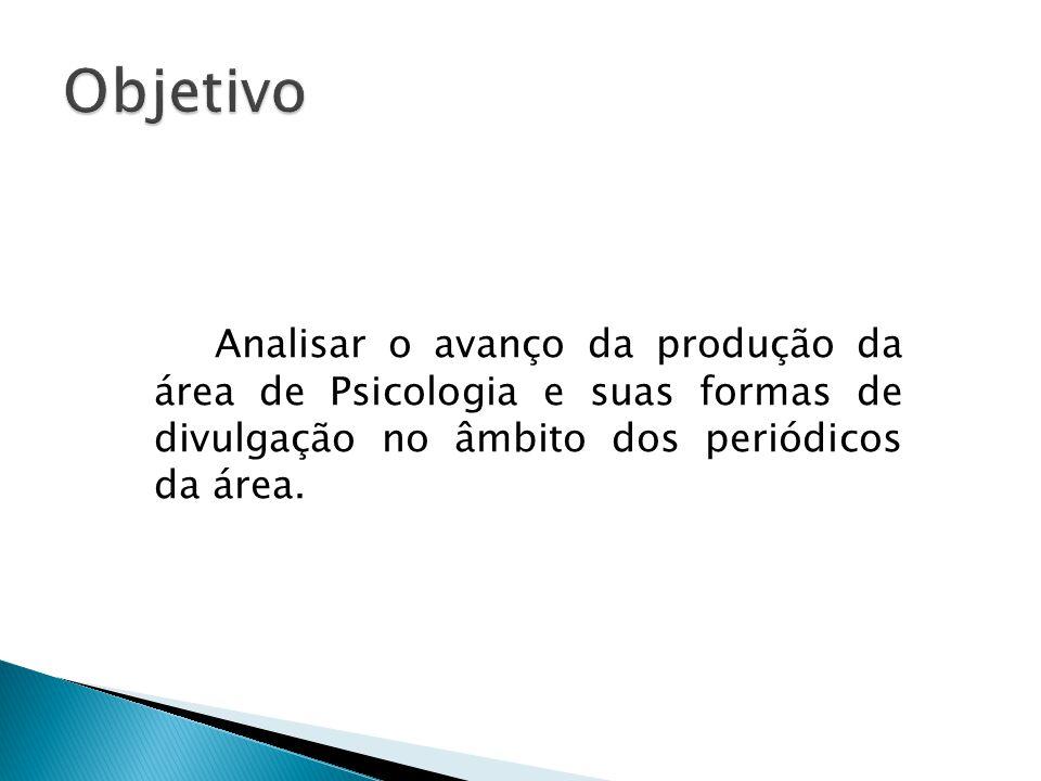 Analisar o avanço da produção da área de Psicologia e suas formas de divulgação no âmbito dos periódicos da área.