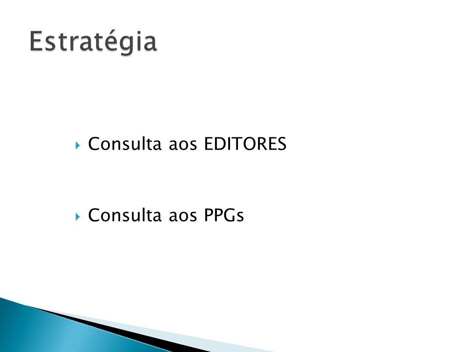 Consulta aos EDITORES Consulta aos PPGs