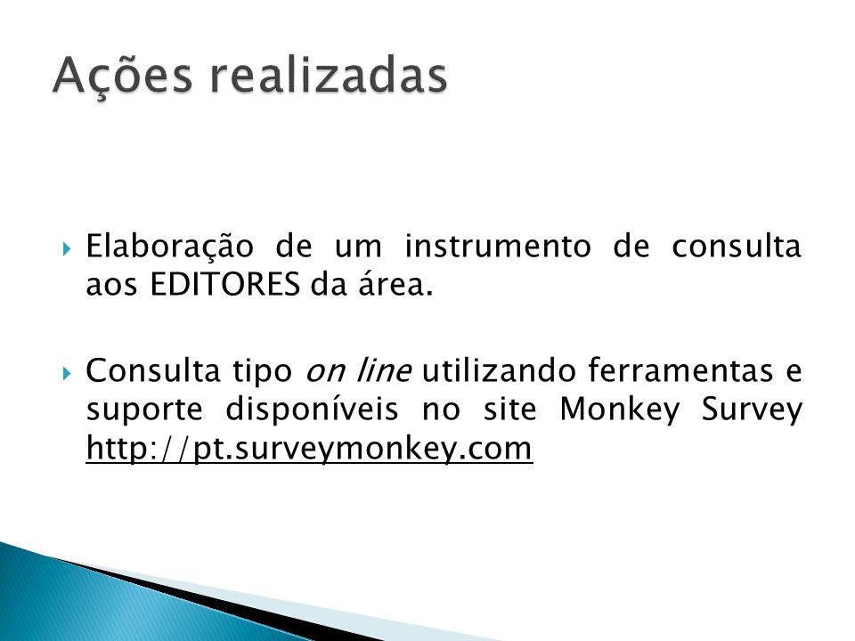 Elaboração de um instrumento de consulta aos EDITORES da área. Consulta tipo on line utilizando ferramentas e suporte disponíveis no site Monkey Surve