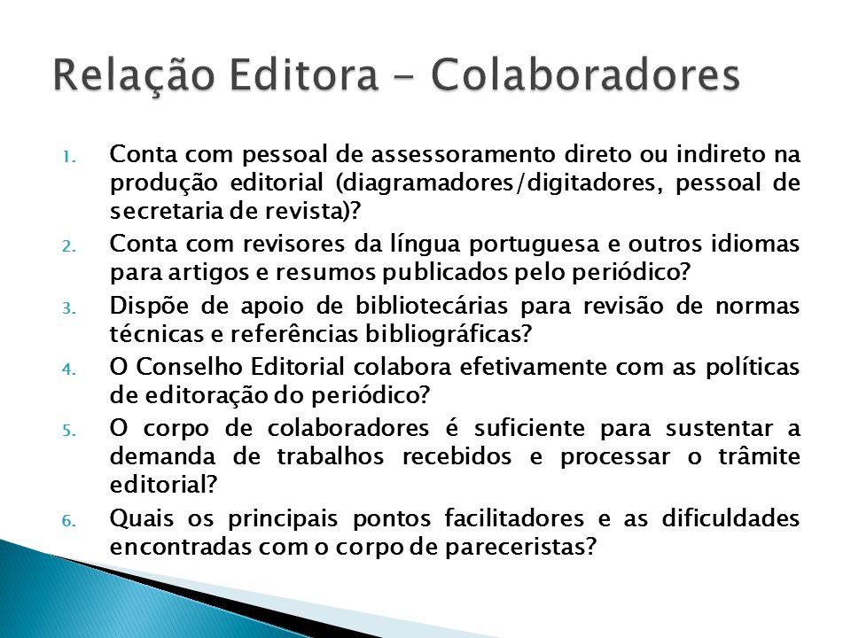 1. Conta com pessoal de assessoramento direto ou indireto na produção editorial (diagramadores/digitadores, pessoal de secretaria de revista)? 2. Cont