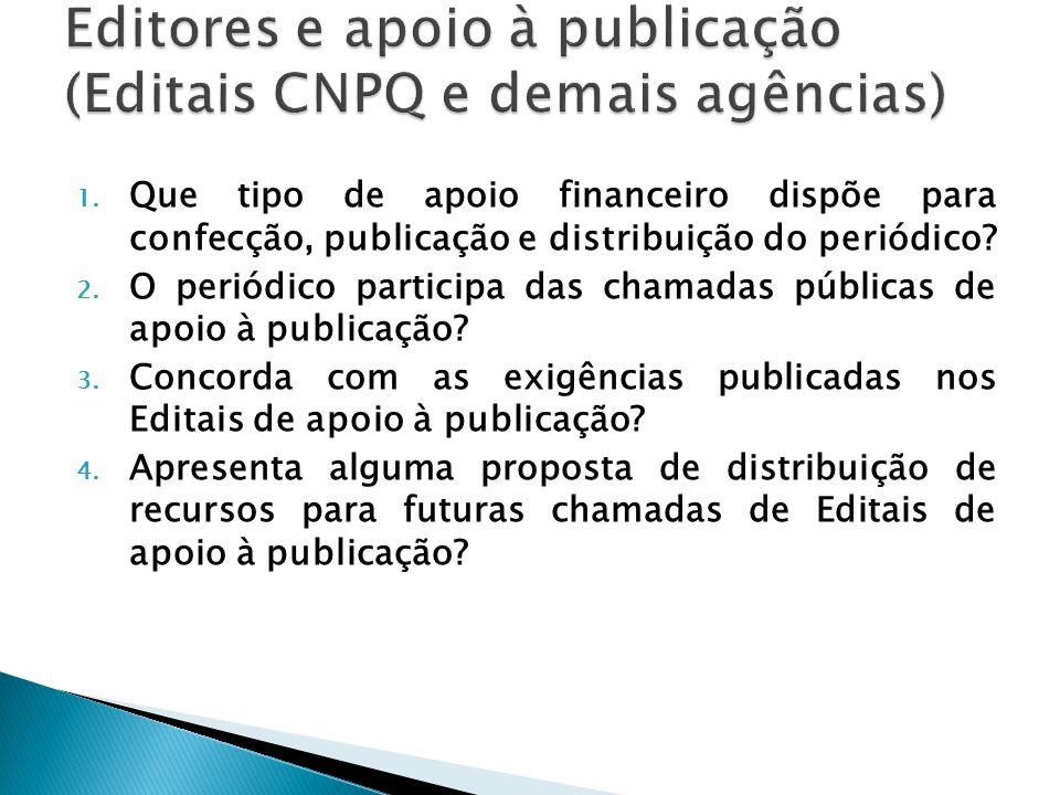 1. Que tipo de apoio financeiro dispõe para confecção, publicação e distribuição do periódico? 2. O periódico participa das chamadas públicas de apoio