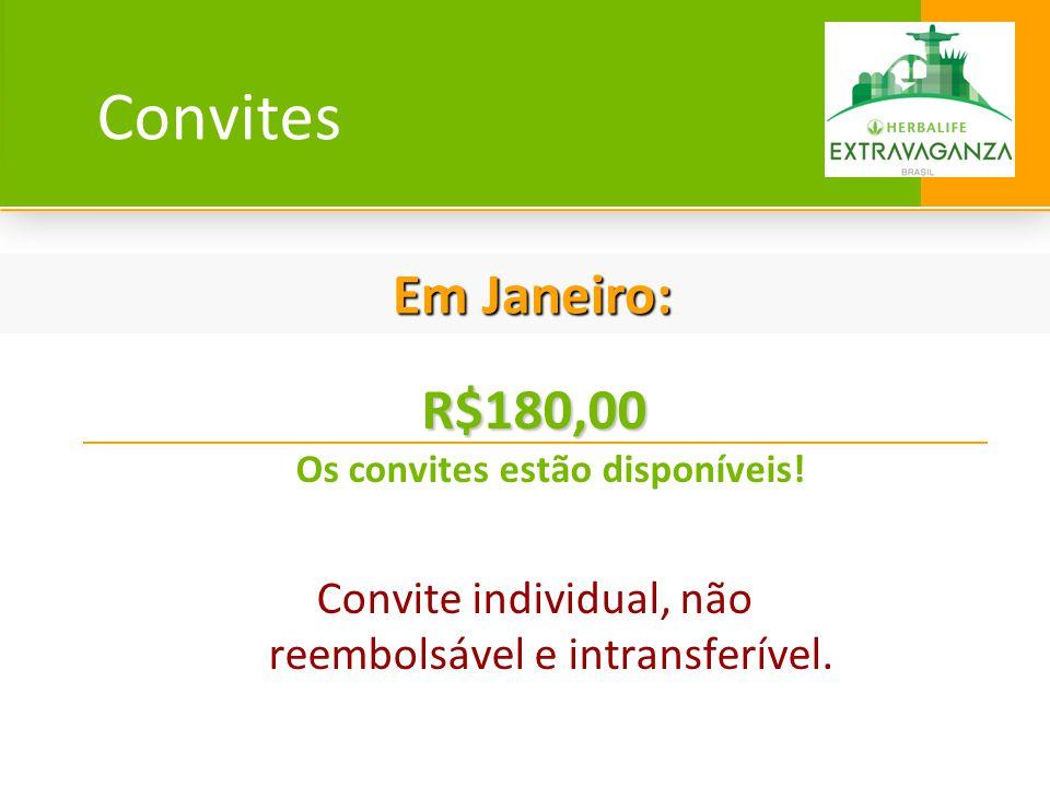 Convites R$180,00 R$180,00 Os convites estão disponíveis! Convite individual, não reembolsável e intransferível. Em Janeiro: Em Janeiro:
