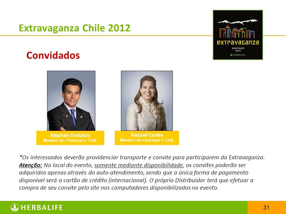31 Extravaganza Chile 2012 Convidados *Os interessados deverão providenciar transporte e convite para participarem da Extravaganza. Atenção: No local