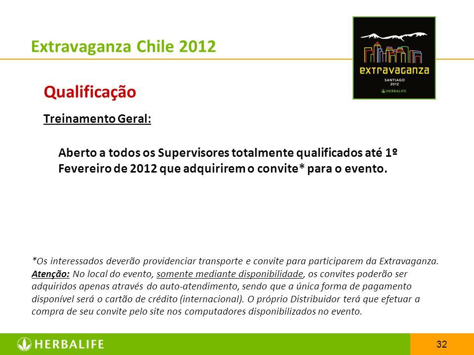 32 Extravaganza Chile 2012 Qualificação Treinamento Geral: Aberto a todos os Supervisores totalmente qualificados até 1º Fevereiro de 2012 que adquiri