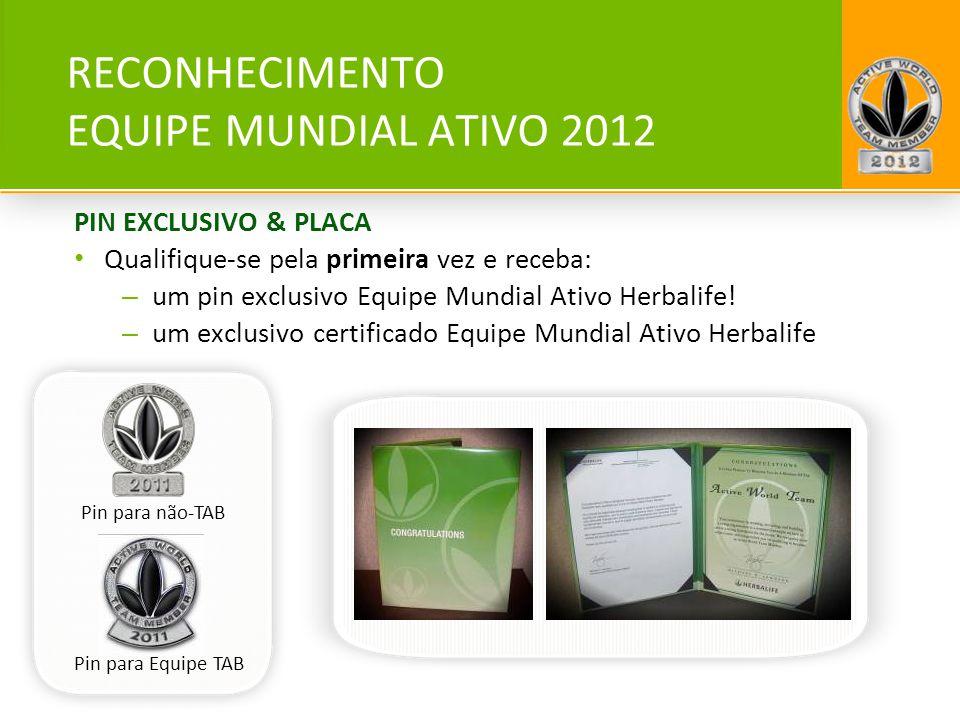 RECONHECIMENTO EQUIPE MUNDIAL ATIVO 2012 PIN EXCLUSIVO & PLACA Qualifique-se pela primeira vez e receba: – um pin exclusivo Equipe Mundial Ativo Herba