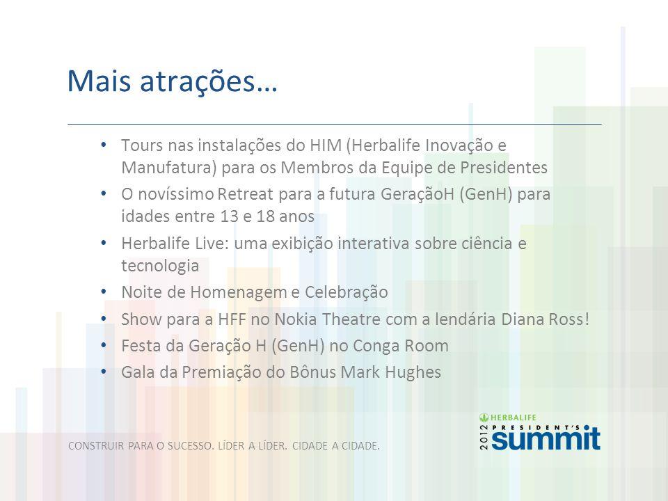 Mais atrações… Tours nas instalações do HIM (Herbalife Inovação e Manufatura) para os Membros da Equipe de Presidentes O novíssimo Retreat para a futu