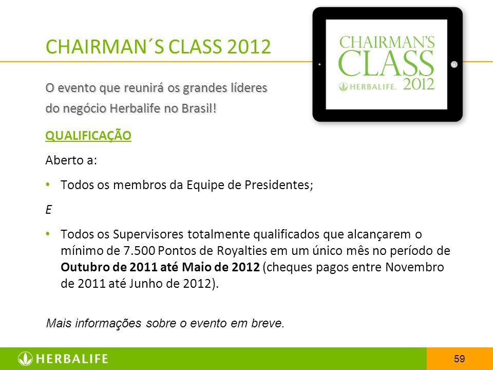 59 CHAIRMAN´S CLASS 2012 O evento que reunirá os grandes líderes do negócio Herbalife no Brasil! QUALIFICAÇÃO Aberto a: Todos os membros da Equipe de